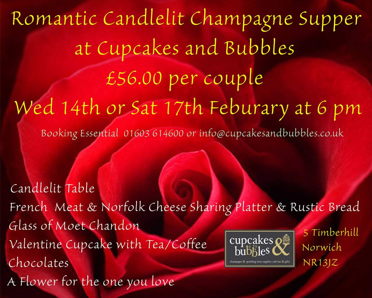 Valentine Supper at Cupcakes and bubbles book now https://t.co/OejizTfMrH