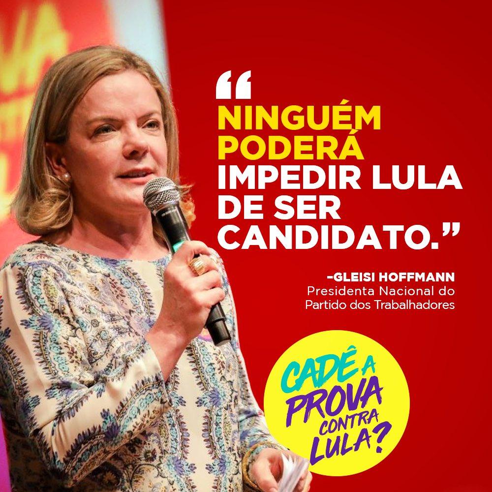 """Ninguém poderá impedir Lula de ser candidato"" disse @gleisi na Bahia 👉🏽 https://t.co/qwWTJWxFo8"