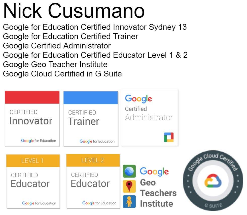 Nick Cusumano On Twitter I Have Achieved The Googleedu Septfecta