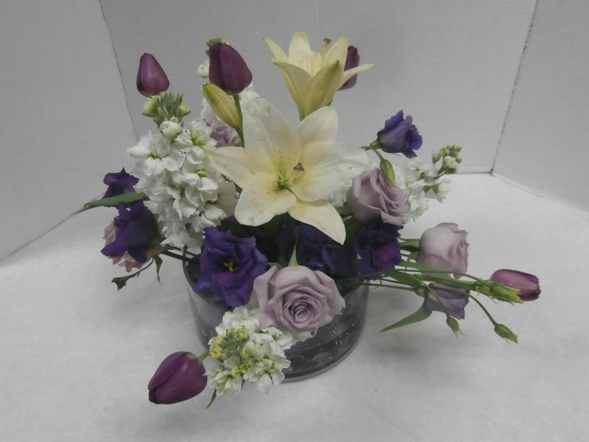 Skyway Creations White And Purple Flower Arrangement