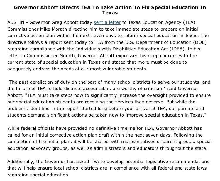 In Plan To Fix Special Education State >> Phil Prazan On Twitter New Gregabbott Tx Directs Teainfo To