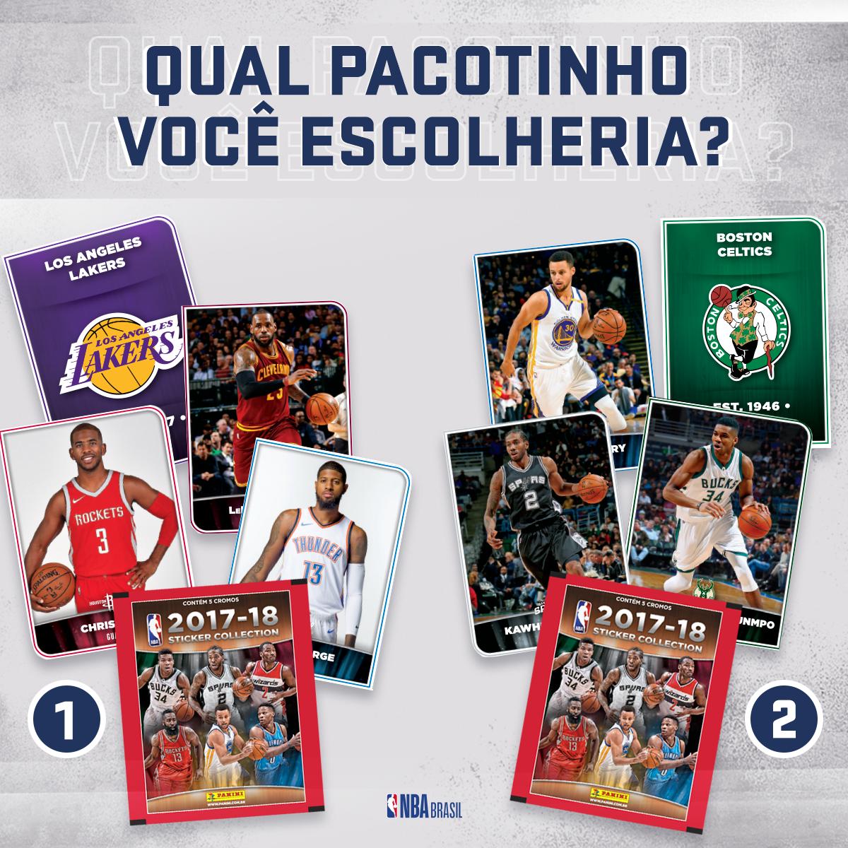 Só no álbum NBA Panini você encontra figurinhas iradas da maior liga de basquete do mundo! Entre o pacotinho 1 e o 2, qual você escolheria? Adquira o seu álbum nas bancas de todo o Brasil, nas NBA Stores e no site: https://t.co/1fLY33eism l @TorcidaPanini