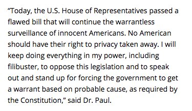 The U.S. House of Representatives failed to protect Americans' Fourth Amendment rights and instead passed the FISA Amendments Reauthorization Act to further entrench growing surveillance state powers. Read more here: https://t.co/09eSidrHaq