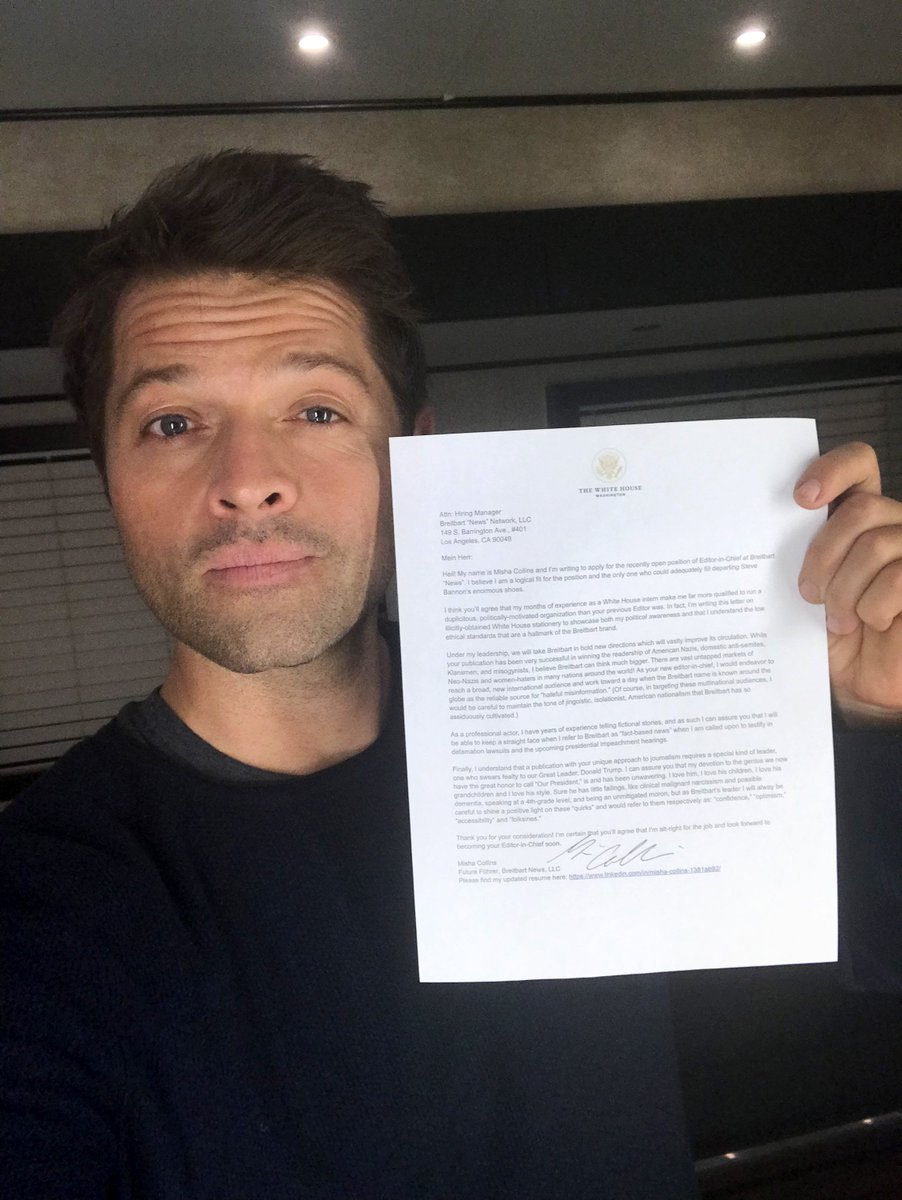 Misha Collins On Twitter In The Two Days Since Steve Bannon Was