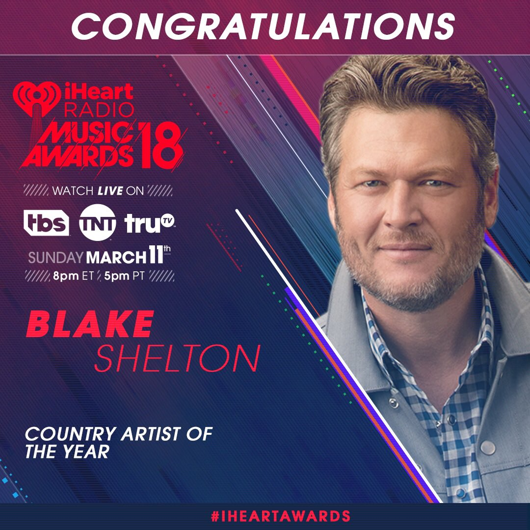 RT @blakeshelton: Thank you for the nomination!! Love y'all!! @iHeartRadio #iHeartAwards https://t.co/sjVOmrF7D2