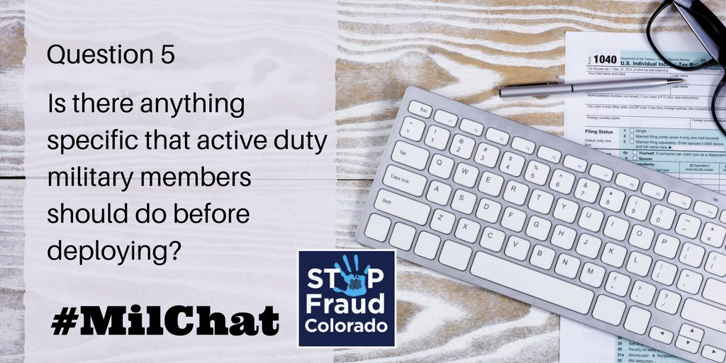 A5: Other than the active duty alert to keep your credit safe, you should make sure to put a hold on your mail or have it forwarded to someone you trust. #MilChat