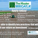 Image for the Tweet beginning: Apply for the Master Irrigator