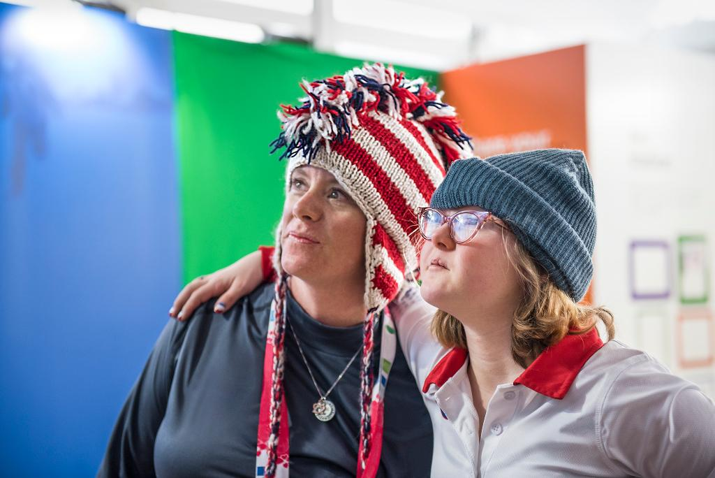 Special Olympics athlete Virginia Wade (right) with her coach. Virginia, who is from Seattle, was one of 22 skiers chosen to represent the U.S. women's team in the 2017 Special Olympics World Winter Games.