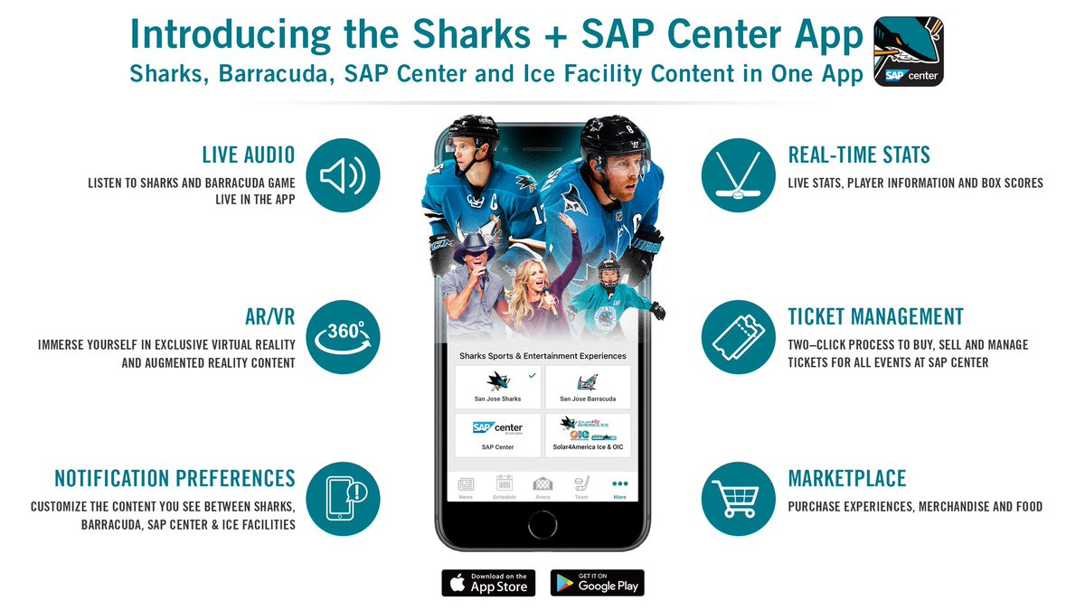 "san jose barracuda on twitter: ""the #sjsharks app now features a"