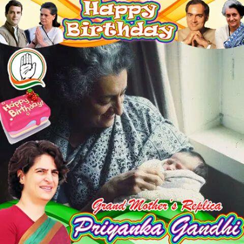 Happy birthday priyanka Gandhi ji Jai congress