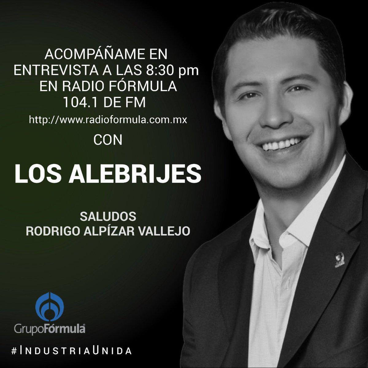 RT @RAlpizarV: Buena noche, acompáñenme a las 8:30 pm en @Radio_Formula  @CONCAMIN  #IndustriaUnida https://t.co/3BlVBYgPLg