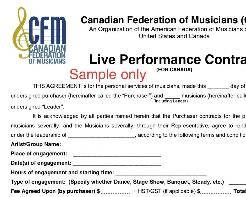 Hamilton Musician On Twitter This Is What A Live Music Performance Contract Looks Like Tco WDBoUXhGxh