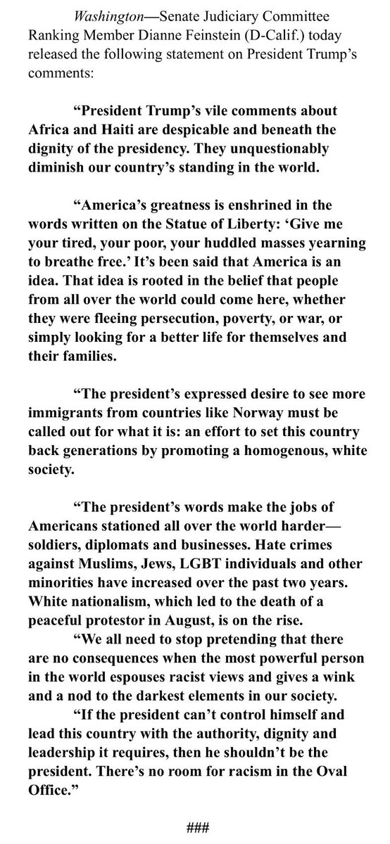 """FEINSTEIN: """"The president's expressed desire to see more immigrants from countries like Norway must be called out for what it is: an effort to set this country back generations by promoting a homogenous, white society."""""""