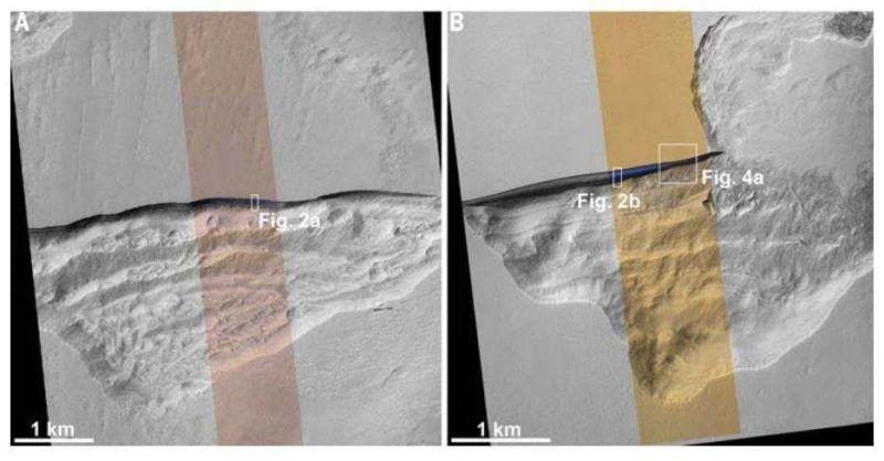 Descubren grandes capas de hielo debajo de la superficie de Marte