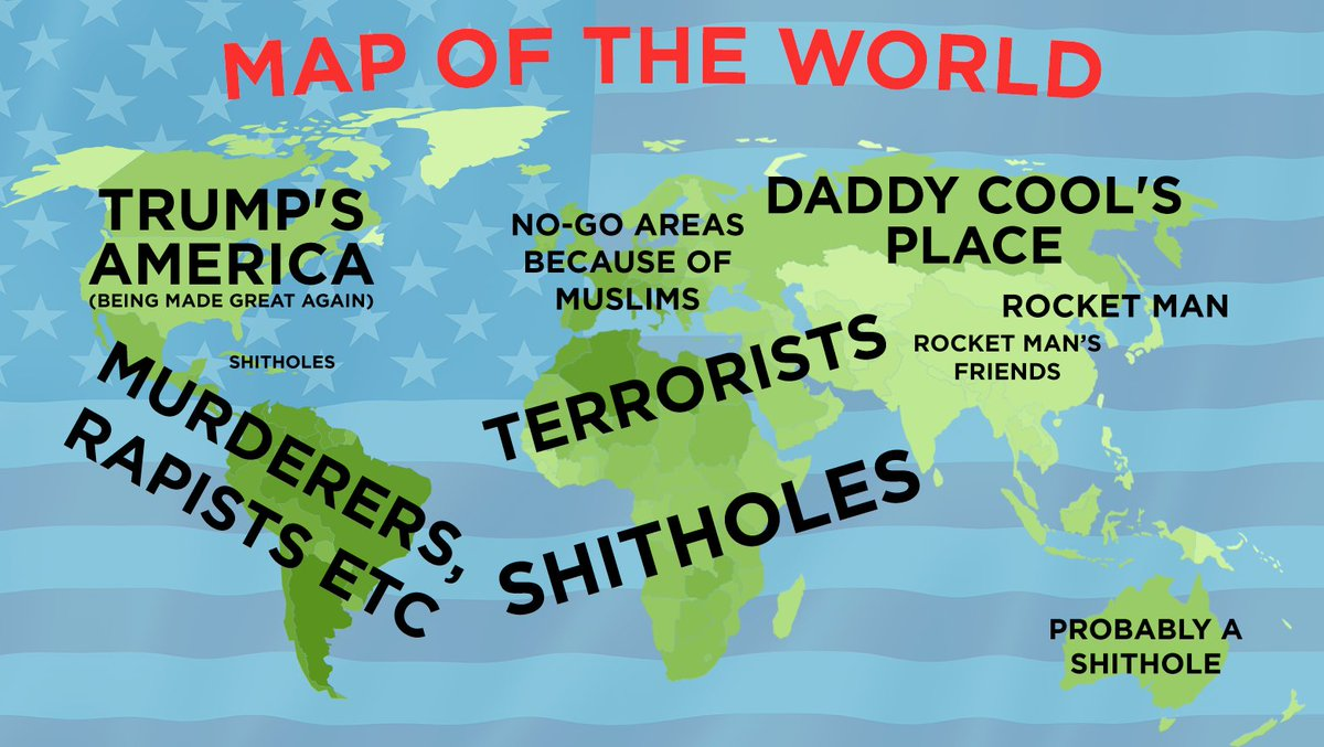 Trump's map of the world. Latest update: