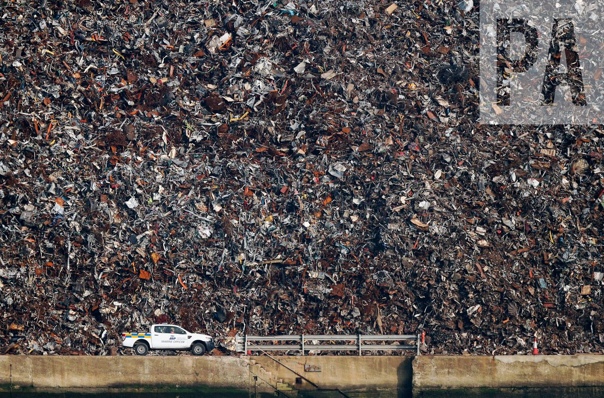 RT @AndyMatthews_PA: A vehicle passes a towering pile of scrap metal at the Port of Southampton https://t.co/5wAsROY4V9