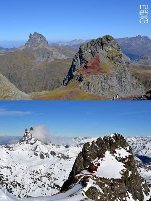 Fantástico el cambio del #ibon de Anayet entre Verano e Invierno! 😱💙   Enhorabuena a Juan Ramón Zurutuza por el montaje e instantáneas 👏