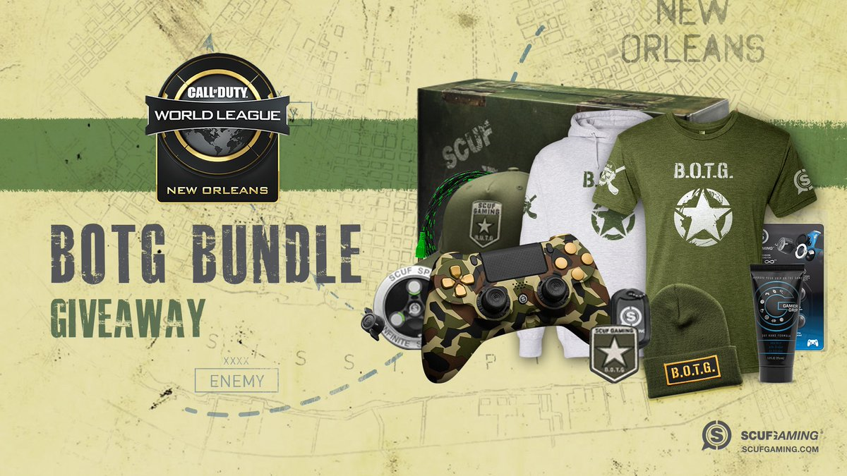 🎮  #CWLNOLA BOTG Bundle Giveaway 🎮  1.) RT and LIKE this tweet 2.) Follow @ScufGaming  3.) Tag two friends 4.) Reply with #CWLSCUF  https://t.co/VhrgbMFtVb https://t.co/PZ14W7yjF3