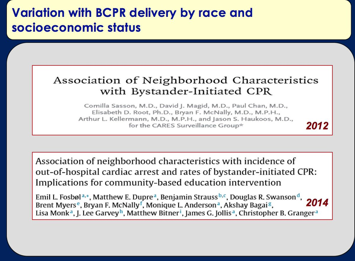 We have seen variation or #disparities in bystander CPR by race &amp; SES. Specifically a recent study found that individuals living in low-income Black neighborhoods were less likely to receive BCPR compared to the national population (OR 0.49, 95% CI 0.41-0.58). #sciparty <br>http://pic.twitter.com/HZNg2xLW0r
