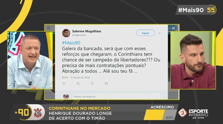 Se liga na pergunta do Salerme, torcedor corintiano. O que você acha, precisa de mais reforços pontuais ou tá tudo certo e dá pra levar a Libertadores com o time atual? #Mais90