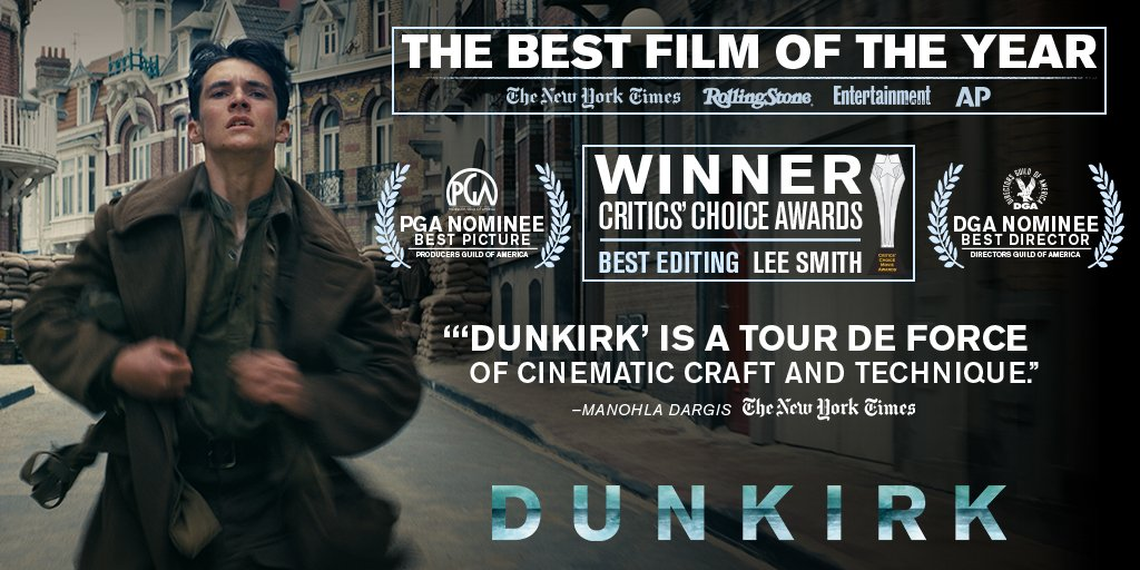 Congratulations to Lee Smith on the Critics Choice Award for Editing for his work on #Dunkirk. https://t.co/sAnR5q56TG