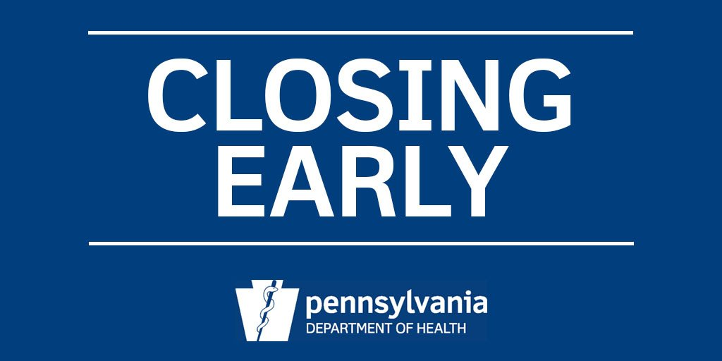 Pa Department Of Health On Twitter Office Closure Vital