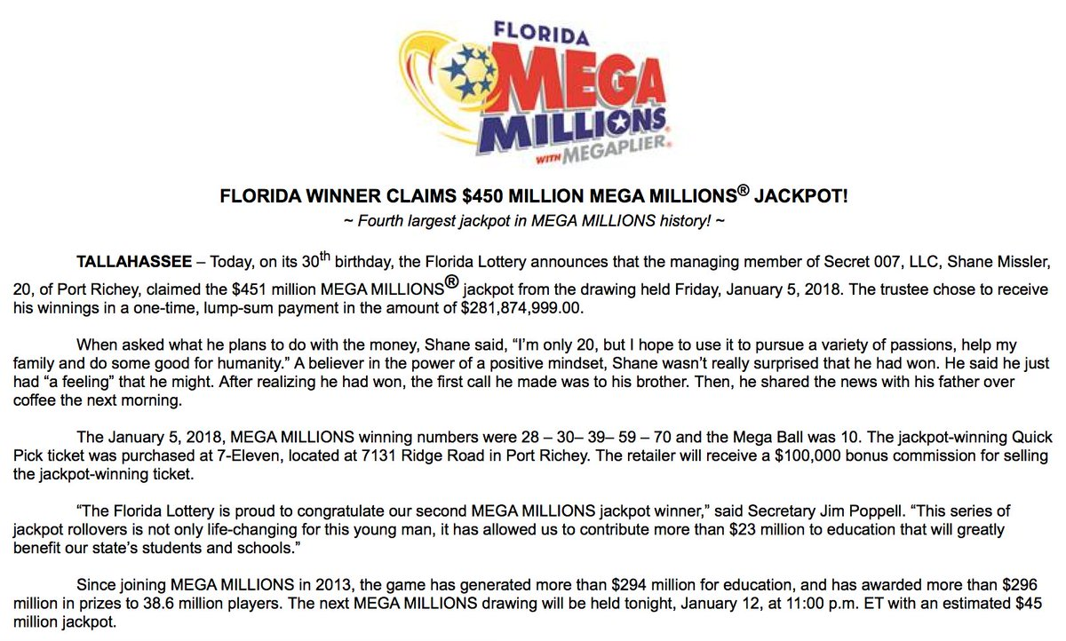 NEW: 20-year-old Florida man claims Mega Millions jackpot, choosing to receive one-time, lump-sum payment of $281,874,999.00.