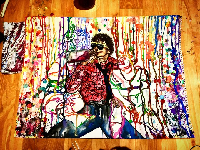 Finally finished my painting of Michael Jackson! So stoked & tired af! https://t.co/wgGad7Vb7w