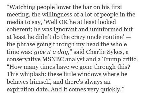 .@SykesCharlie proposes people ask themselves a question before praising Trump for a moment of good behaviour: 'Can we give it a day?' https://t.co/uyfluv0kso
