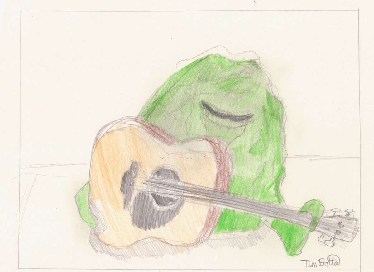'Yaphit with Guitar,' graphite and color...