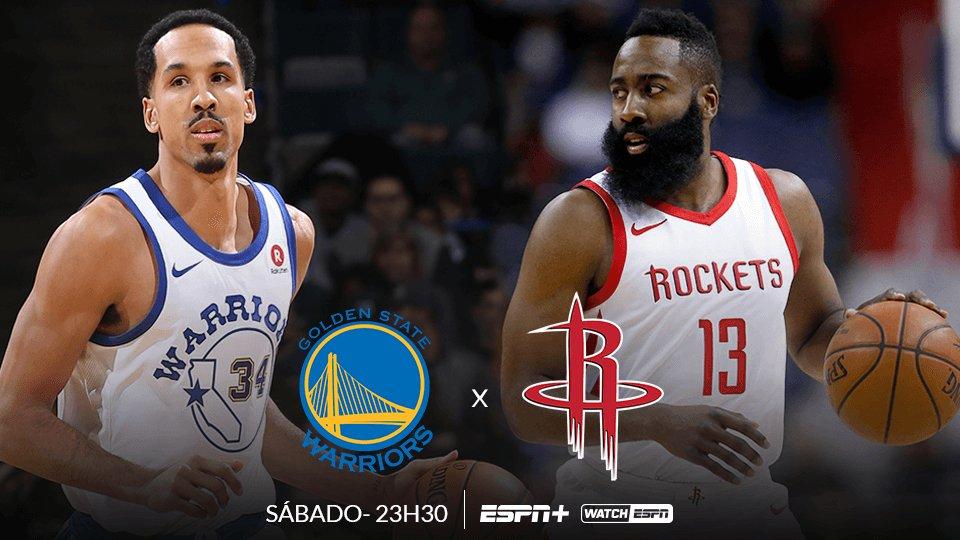 JOGÃO NA NBA 🏀🏀🏀  HOJE, às 23h30 (Horário de Brasília), tem Golden State Warriors x Houston Rockets, AO VIVO na ESPN+ e no WatchESPN  #NBAnaESPN