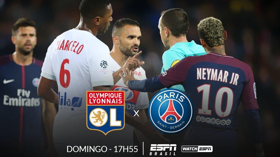 JOGÃO NO CAMPEONATO FRANCÊS 🇫🇷️🇫🇷️🇫🇷️  AMANHÃ, o Lyon recebe o PSG , às 17h55 (Horário de Brasília), AO VIVO na ESPN Brasil e no WatchESPN  #FrancêsNaESPN