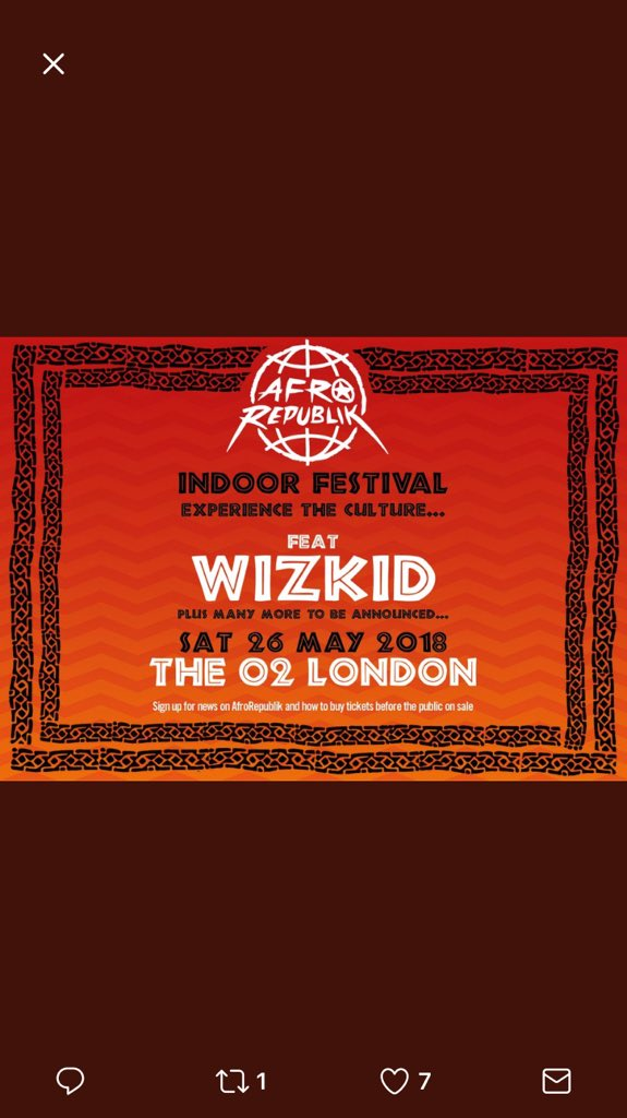 RT @barkious: #AfroRepublik @wizkidayo 👑 doing it for the culture 🚀🚀🚀  May 26 https://t.co/rqNLIkXQSl