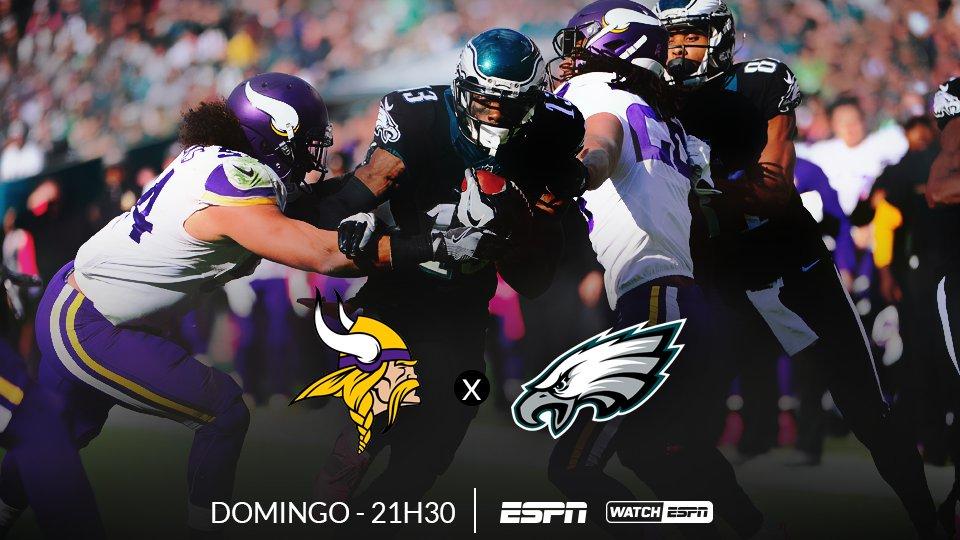 FINAL DA NFC 🏈🏈🏈  AMANHÃ, às 21h30 (Horário de Brasília), tem a final da NFC entre Minnesota Vikings x Philadelphia Eagles, AO VIVO na ESPN e no WatchESPN  #NFLnaESPN