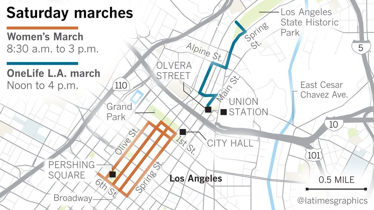 Here are the street closures for the Women's March in L.A. https://t.co/QNzBNsyV2P