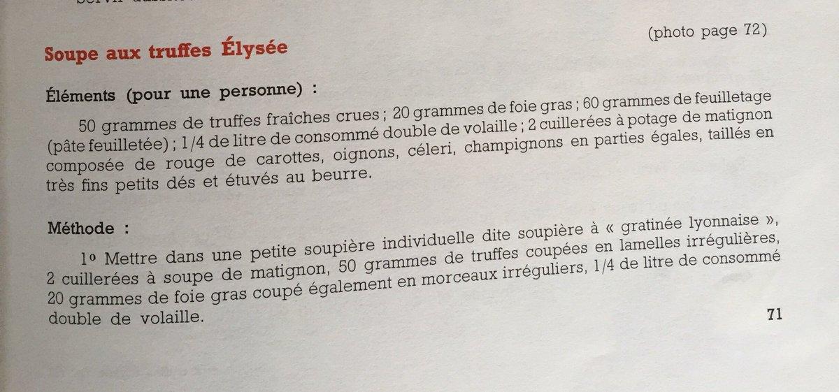 Recette de la soupe aux truffes « Élysée », dite « VGE ». #Bocuse #Giscard