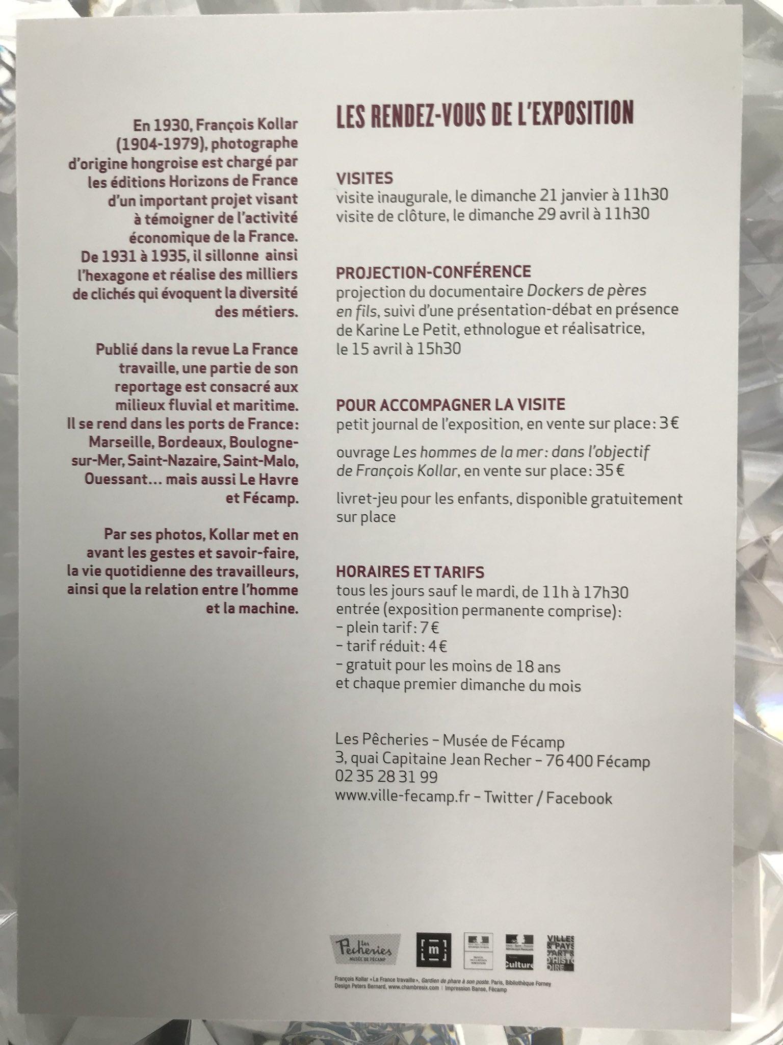 """Stéphanie Kerbarh على تويتر: """"Fabuleuse exposition du 20 janvier au 30  avril au #MuséeDesPêcheries à #Fécamp sur le travail de François Kollar  Travailleurs ..."""