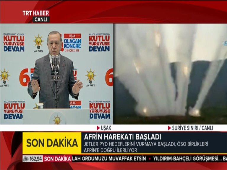Turkish TV airs #Erdogan speech alongside footage of operations at the Syrian border. (TRT Haber)  #Afrin