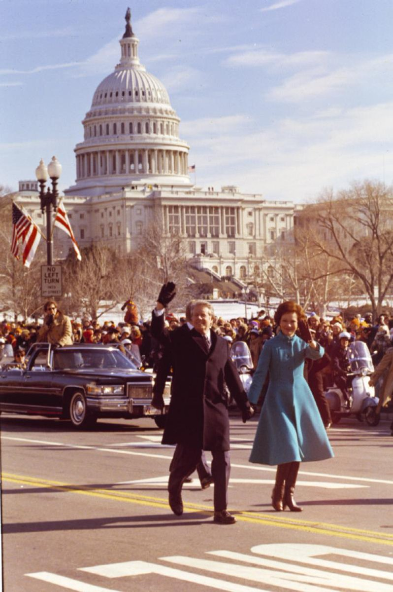 On This Day. 1977: Much to the displeasure of the Secret Service, Jimmy Carter - the 39th President - walked with Rosalynn
