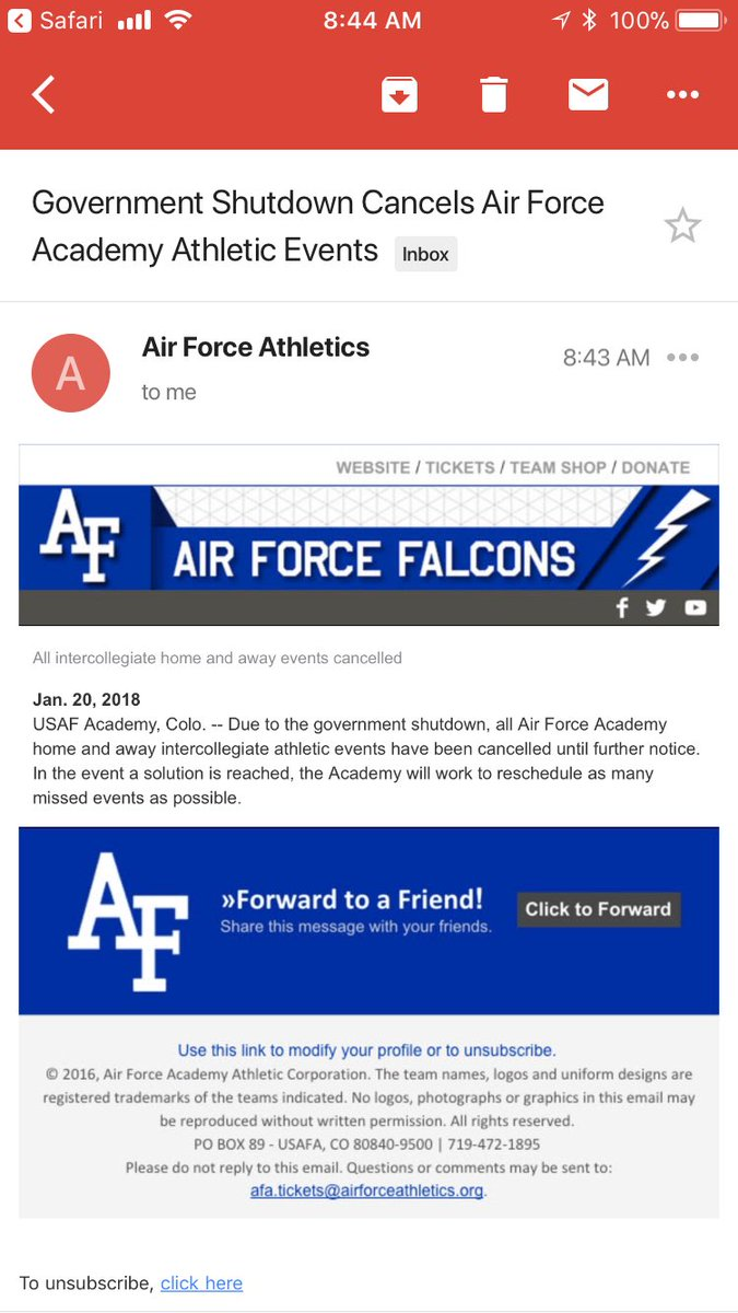 All @AF_Academy sports events called off until further notice due to #shutdown. #9news