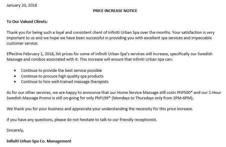 price increase letter infiniti spa on quot price increase notice 1826
