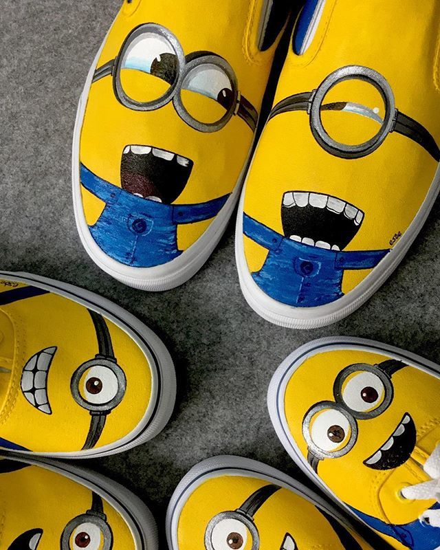 feaeb1f819 Can never get enough of these bunch of craziesss!! Hand Painted Minion  kicks for