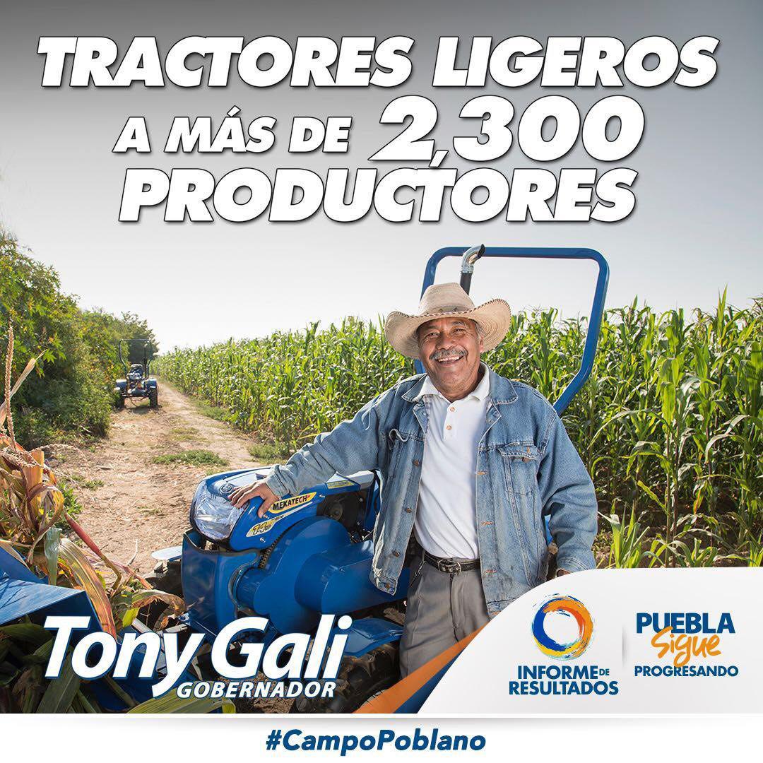 .@TonyGali hace posible la cobertura de más de un millón de hectáreas en los 217 municipios del #CampoPoblano con un seguro por contingencias climatológicas.