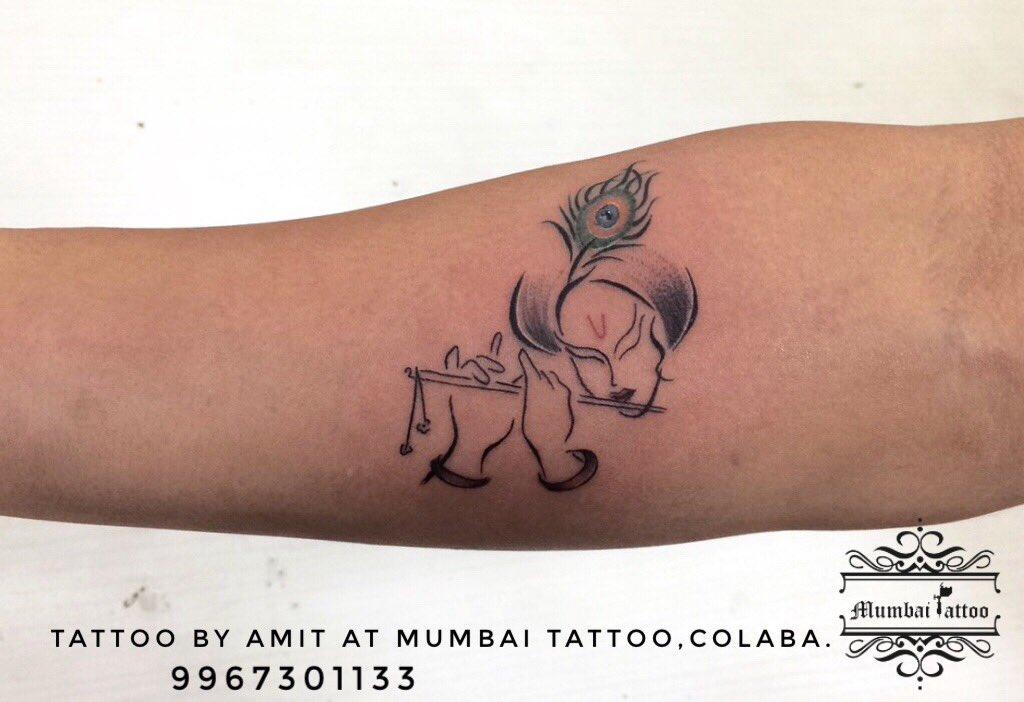 606d2ef9c Lord Krishna Tattoo @mumbaitattoocolaba 📲+919967301133 #tattoo # krishnatattoo #flutetattoo #peacockfeathertattoo