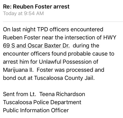 Former Alabama linebacker Reuben Foster arrested in Tuscaloosa