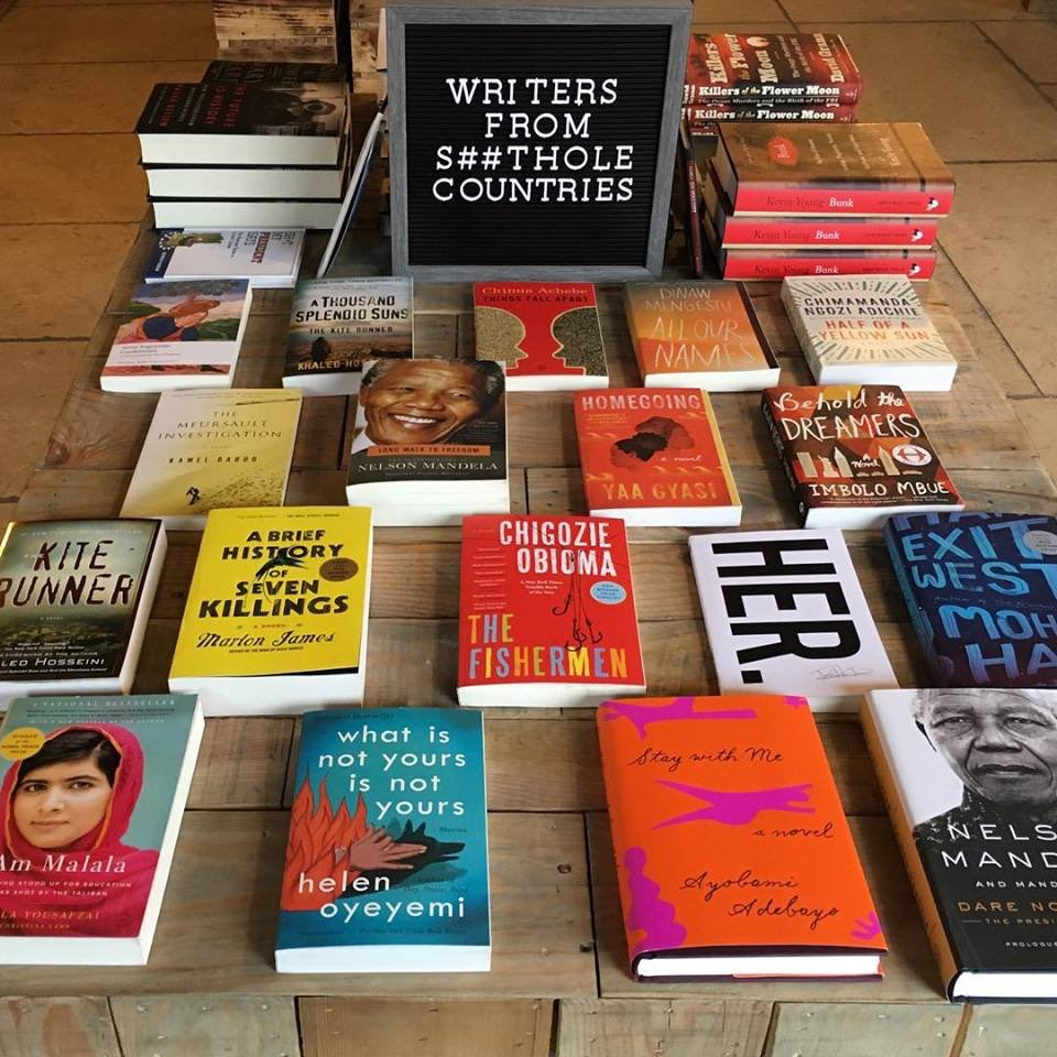 A New York bookstore is featuring books today by writers from #ShitholeCountries including Nelson Mandela and Malala Yousafzai