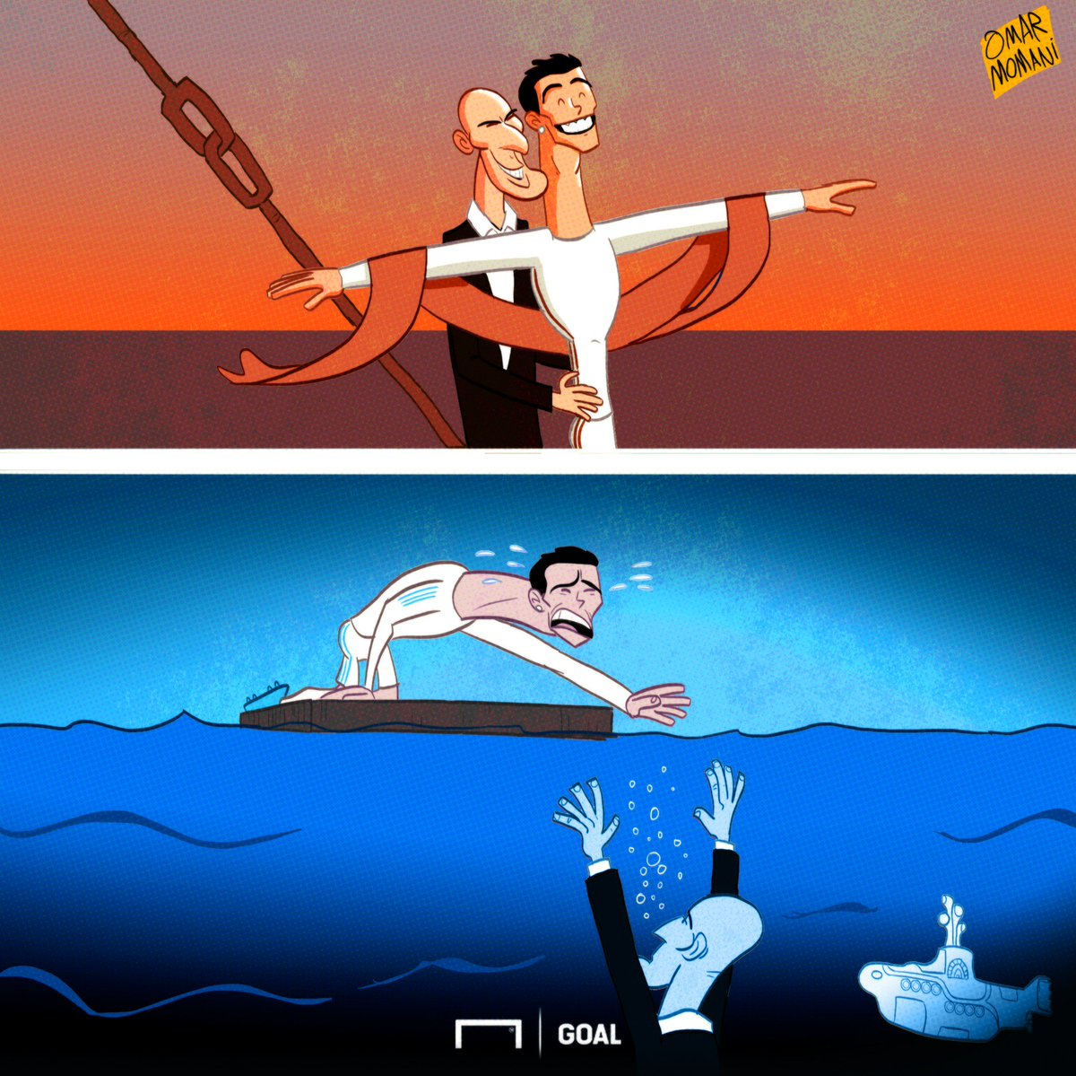 RT @goal: Villarreal's Yellow Submarine has sunk Real Madrid!  Cartoon by @omomani https://t.co/yV1EhtUZ7L