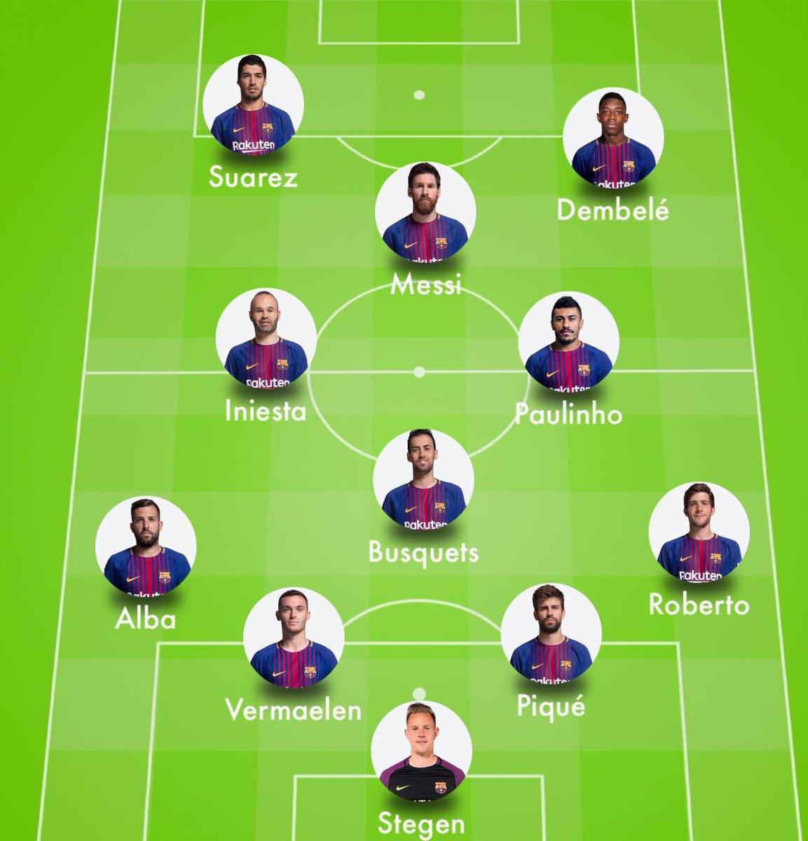 Nuestro 11 para mañana contra la Real Sociedad: Ter Stegen; Sergi Roberto, Piqué, Vermaelen, Jordi Alba; Busquets, Paulinho, Iniesta; Dembélé, Messi y Luis Suárez. #FCBLive