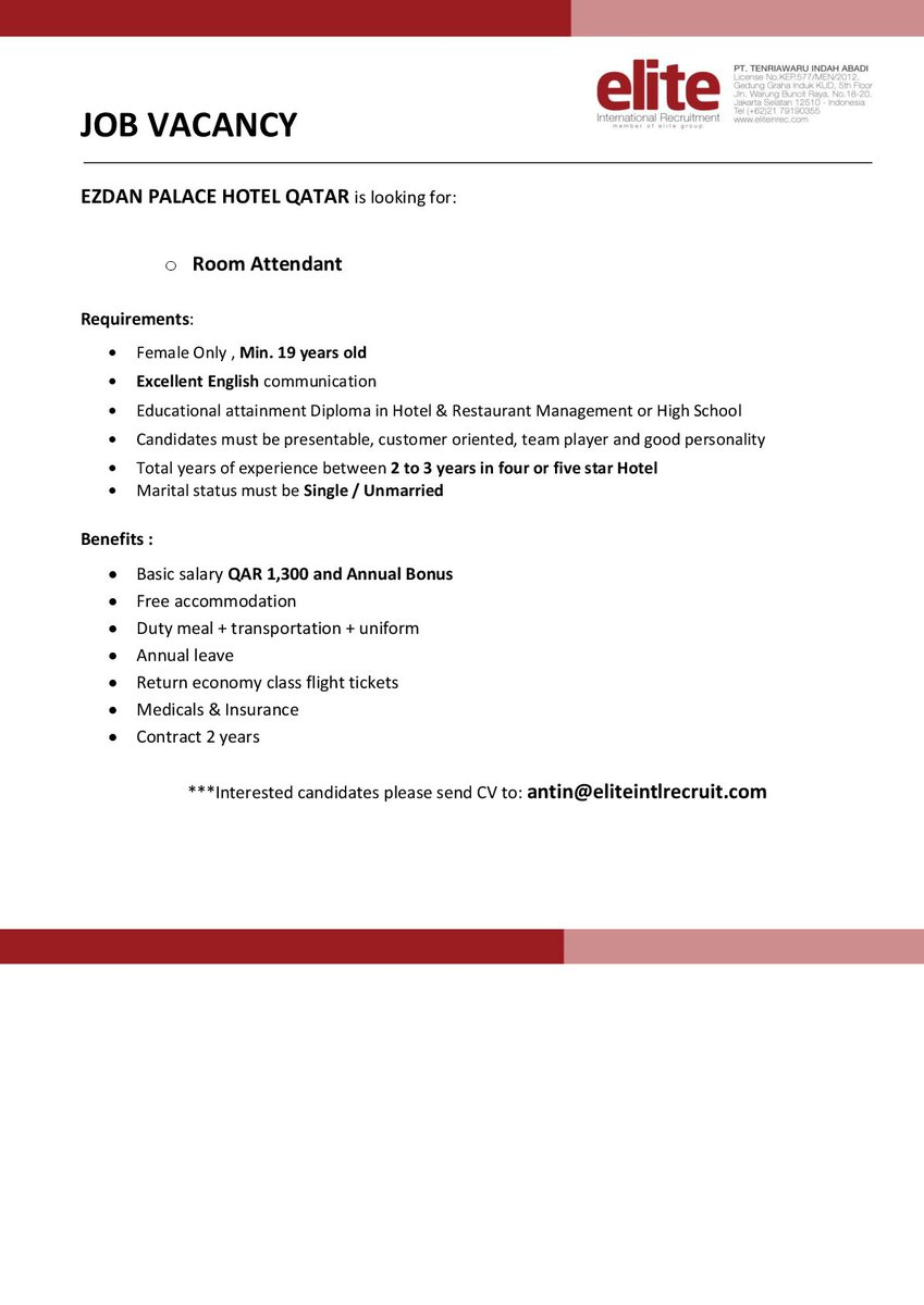 Elite International Recruitment On Twitter Ezdan Hotel Qatar Is Hiring Ladies It S Your Turn If You Re Indonesian And Applicable Apply Now Jobvacancy Qatar Middleeast Hotelier Lowongankerja Wairess Roomattendant Https T Co Odgde6g4wb