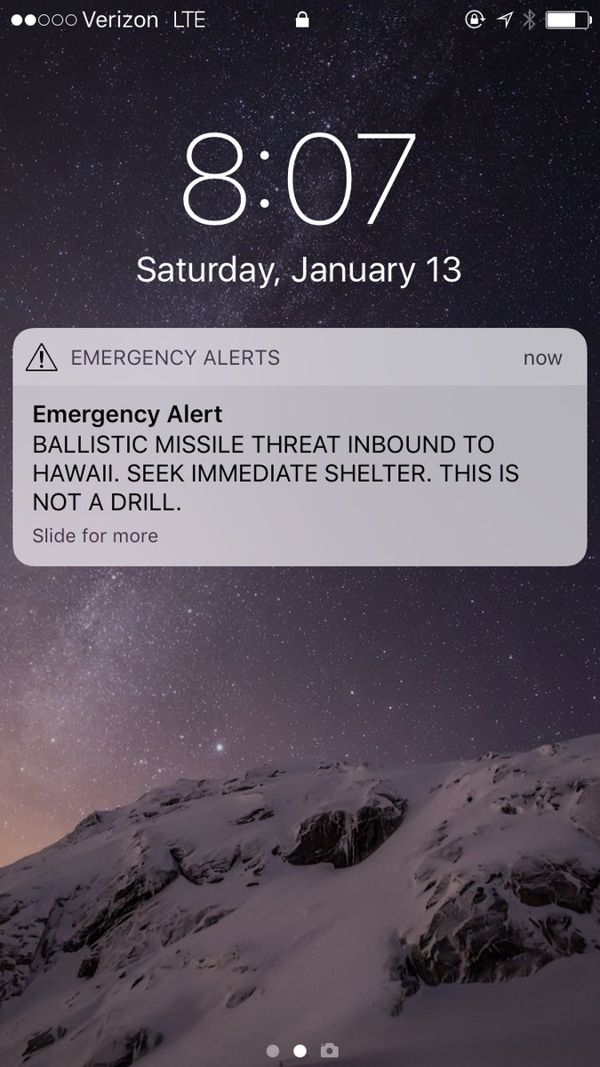 Hawaii missile alert on smartphones was false alarm